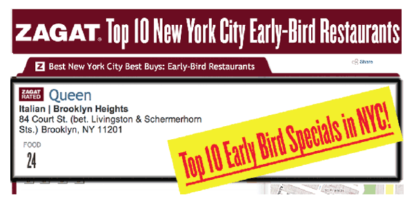 Zagat Early Bird Specials
